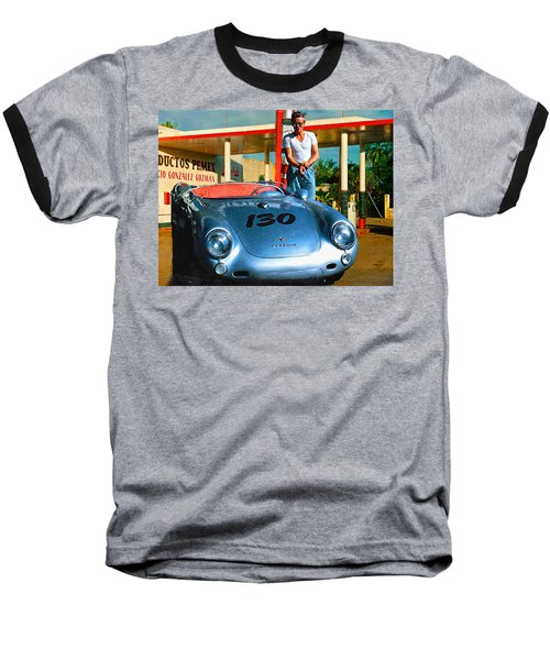 James Dean Filling His Spyder With Gas Baseball T-Shirt by Doc Braham