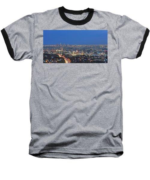 L.a. Skyline Los Angeles Ca Cityscape Night Dusk Lit Lights On 3 Baseball T-Shirt