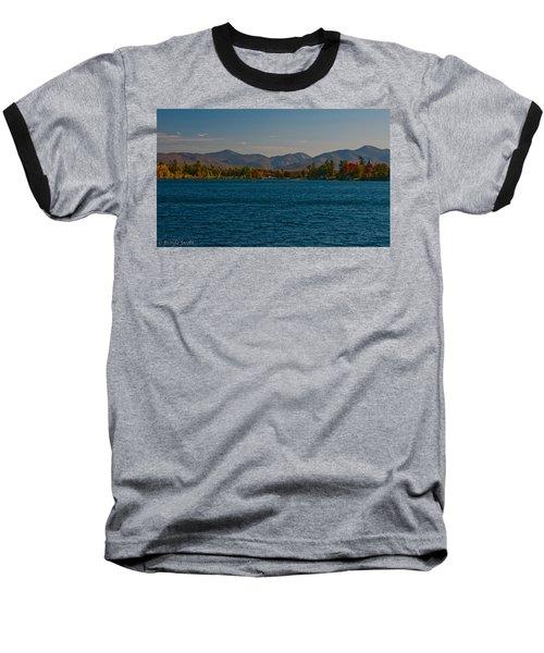 Lake Placid And The Adirondack Mountain Range Baseball T-Shirt by Brenda Jacobs