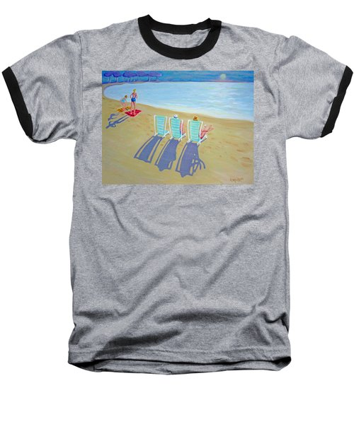 Sunset On Beach - Last Rays Baseball T-Shirt
