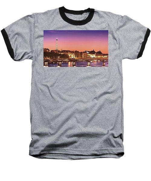 Left Bank At Night / Paris Baseball T-Shirt