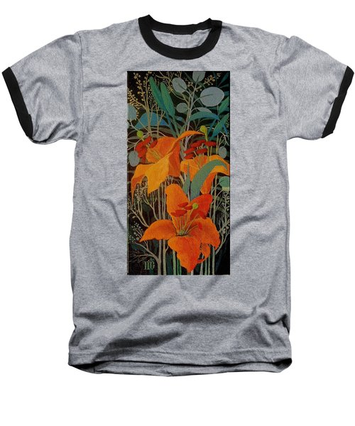 Baseball T-Shirt featuring the painting Lilies by Marina Gnetetsky