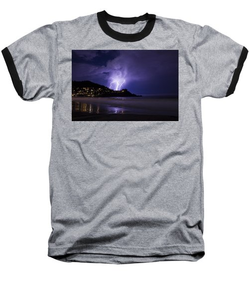 Lightning Over The Ocean Baseball T-Shirt