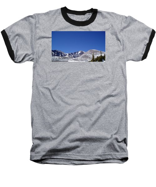 Longs Peak And Blue Sky Baseball T-Shirt