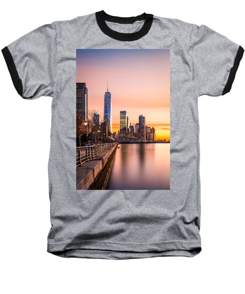 Lower Manhattan At Sunset Baseball T-Shirt
