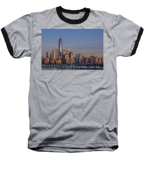 Lower Manhattan Skyline Baseball T-Shirt by Susan Candelario