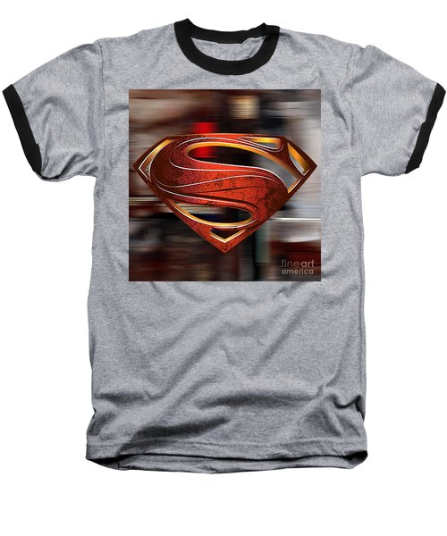 Baseball T-Shirt featuring the mixed media Man Of Steel Superman by Marvin Blaine