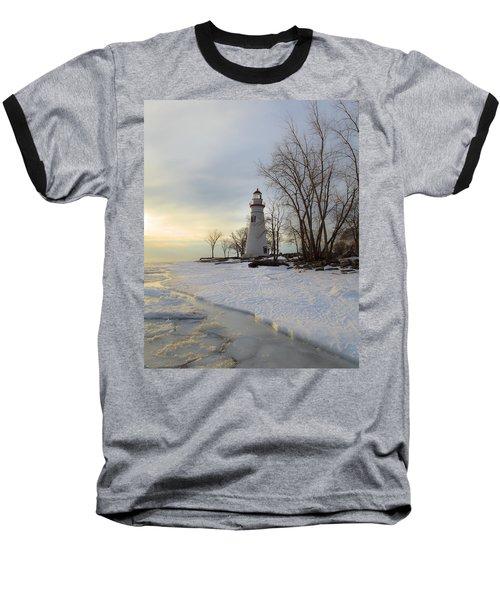 Marblehead Lighthouse Winter Sunrise Baseball T-Shirt