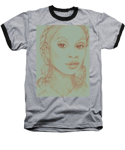 Baseball T-Shirt featuring the drawing Mary J Blige by Christy Saunders Church