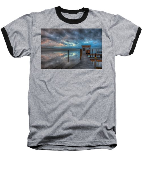 Melvin Village Marina In The Fog Baseball T-Shirt