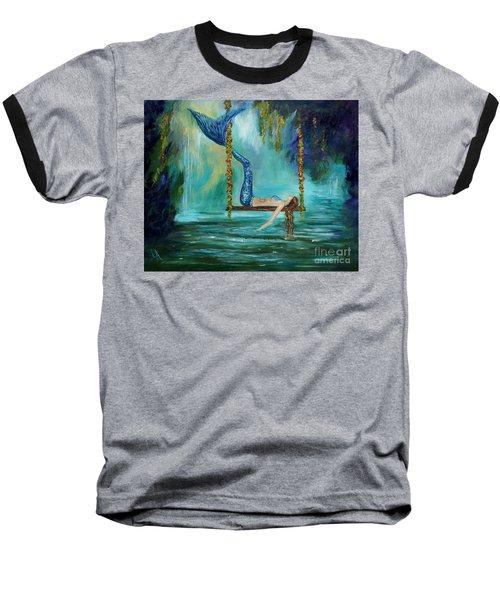 Mermaids Lazy Lagoon Baseball T-Shirt by Leslie Allen