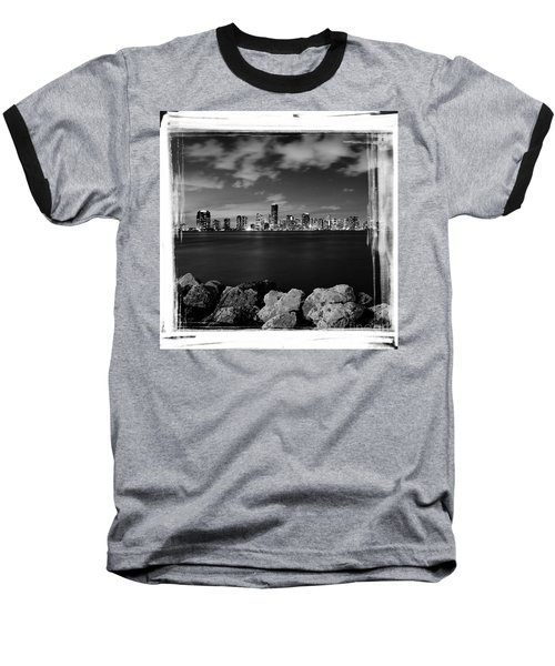 Baseball T-Shirt featuring the photograph Miami Skyline At Night by Carsten Reisinger