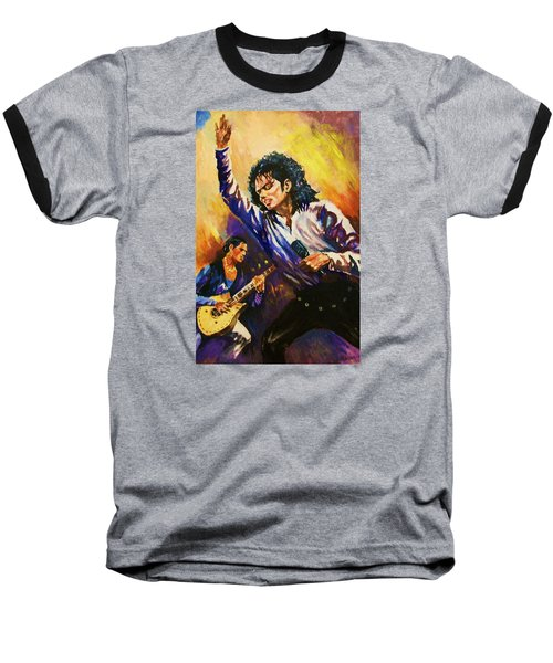 Michael Jackson In Concert Baseball T-Shirt by Al Brown