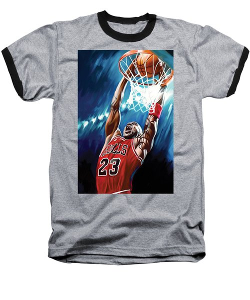 Michael Jordan Artwork Baseball T-Shirt by Sheraz A