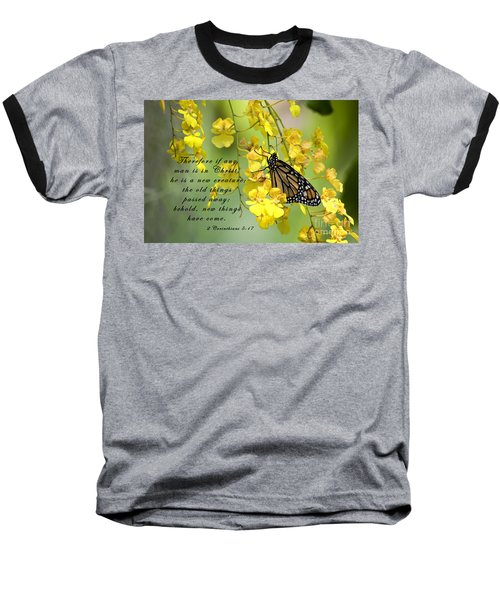 Monarch Butterfly With Scripture Baseball T-Shirt
