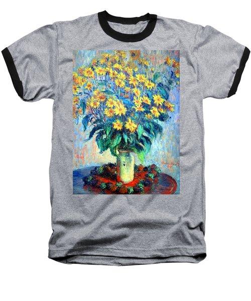 Baseball T-Shirt featuring the photograph Monet's Jerusalem  Artichoke Flowers by Cora Wandel
