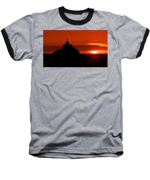 Mont St Michel Sunset Baseball T-Shirt by Joe Bonita