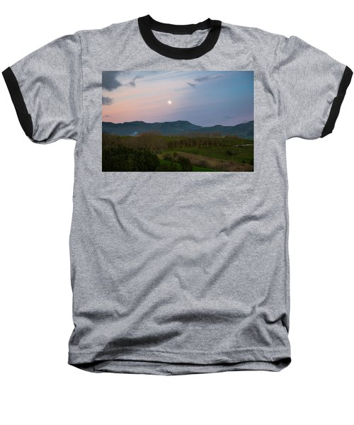 Moon Over The Hills Of Povoacao Baseball T-Shirt