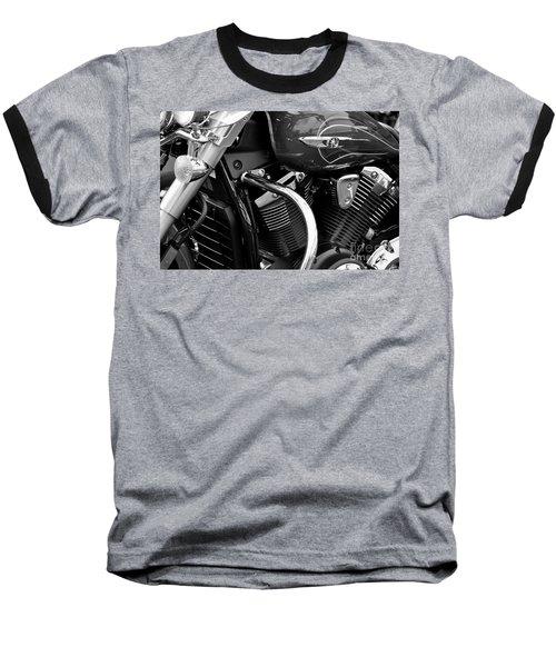 Motorcycle Engine Black And White Baseball T-Shirt
