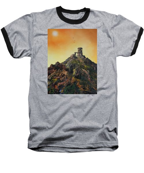 Baseball T-Shirt featuring the painting Mow Cop Castle Staffordshire by Jean Walker