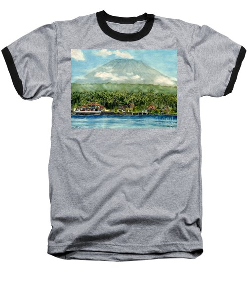 Baseball T-Shirt featuring the painting Mt. Agung Bali Indonesia by Melly Terpening