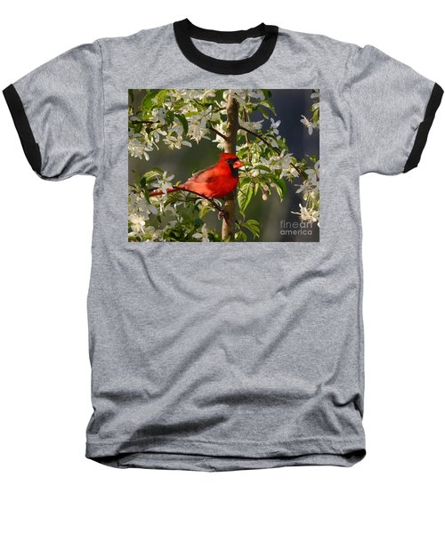 Red Cardinal In Flowers Baseball T-Shirt