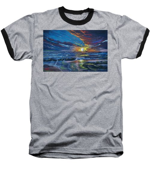 Baseball T-Shirt featuring the pastel Never Ending Sea by Peter Suhocke