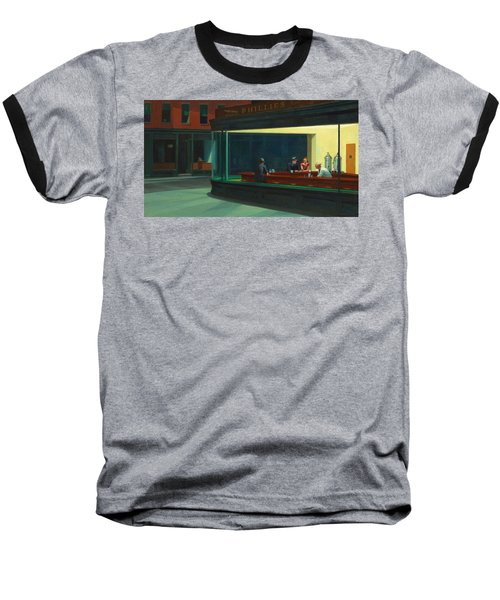 Nighthawks Baseball T-Shirt by Edward Hopper
