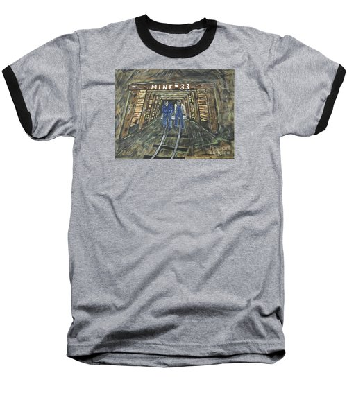 No Windows Down There In The Coal Mine .  Baseball T-Shirt by Jeffrey Koss