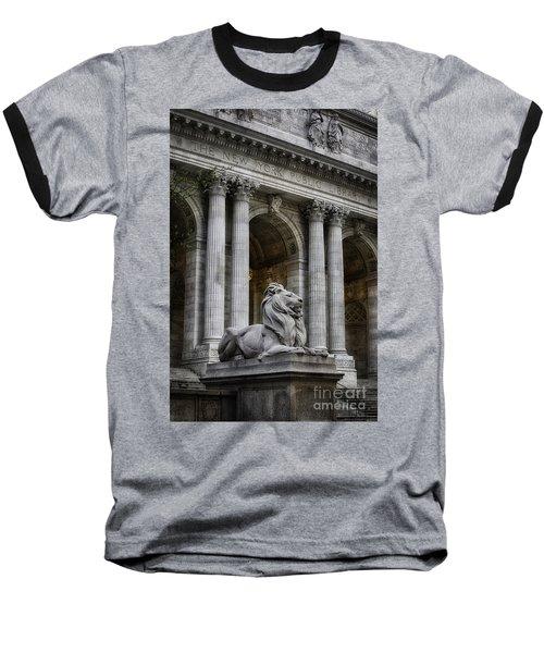 Ny Library Lion Baseball T-Shirt by Jerry Fornarotto