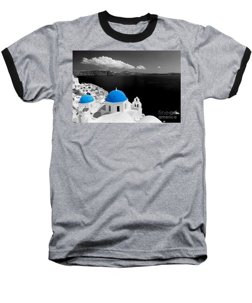 Oia Town On Santorini Island Greece Blue Dome Church Black And White. Baseball T-Shirt