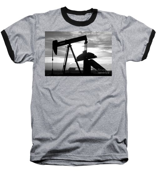 Oil Well Pump Jack Black And White Baseball T-Shirt