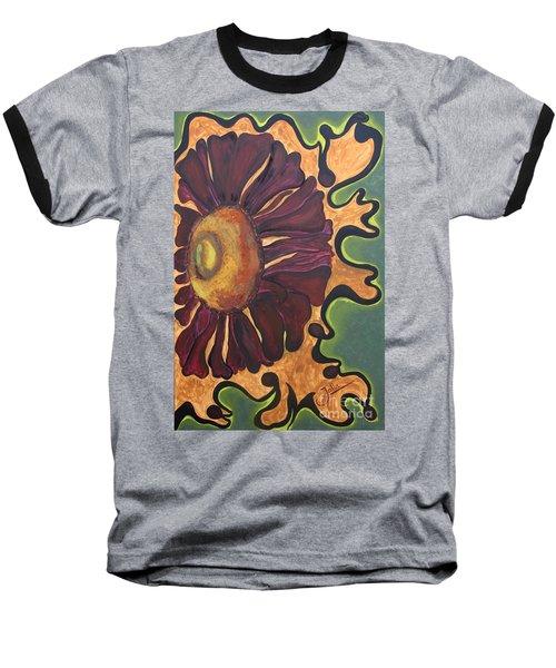 Baseball T-Shirt featuring the painting Old Fashion Flower by Jolanta Anna Karolska