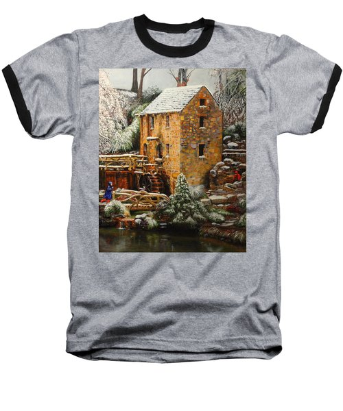 Old Mill In Winter Baseball T-Shirt