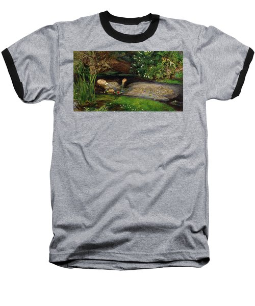 Ophelia Baseball T-Shirt by John Everett Millais