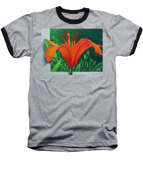 Baseball T-Shirt featuring the painting Orange Lily by Pamela Clements