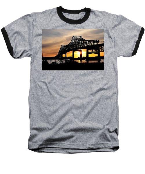 Over The Mississippi Baseball T-Shirt by Charlotte Schafer