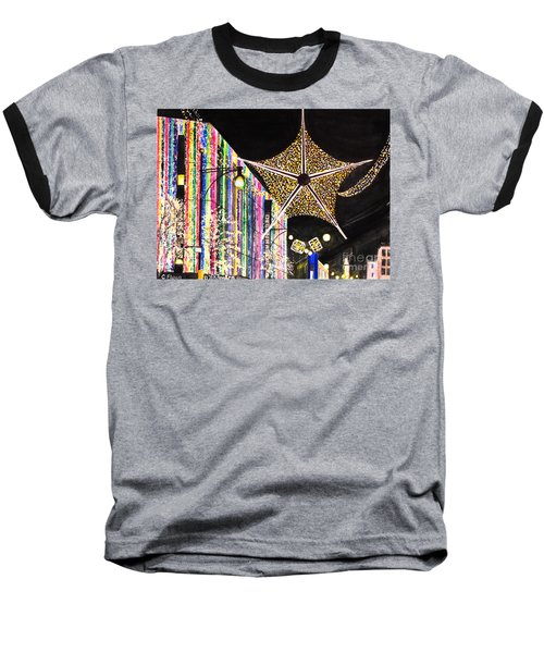 Baseball T-Shirt featuring the painting Oxford Street London 2011 by Carol Flagg