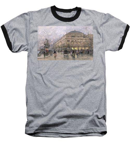 Parisian Street Scene Baseball T-Shirt by Eugene Galien-Laloue