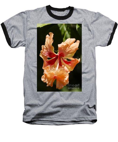 Peach And Red Flower Baseball T-Shirt