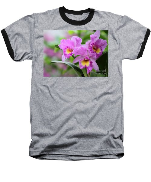 Pink Orchids Baseball T-Shirt