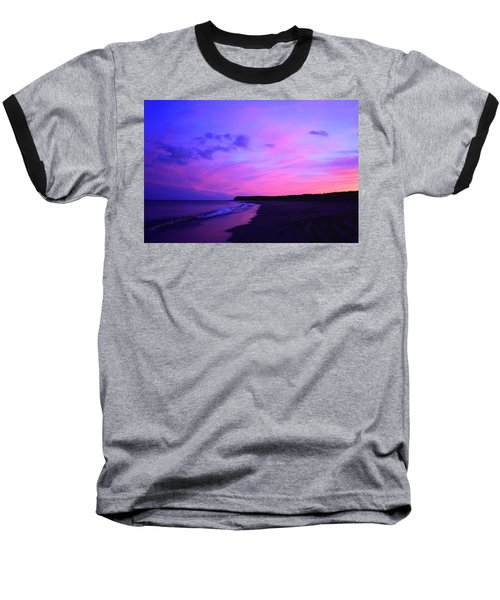 Baseball T-Shirt featuring the photograph Pink Sky And Beach by Jason Lees