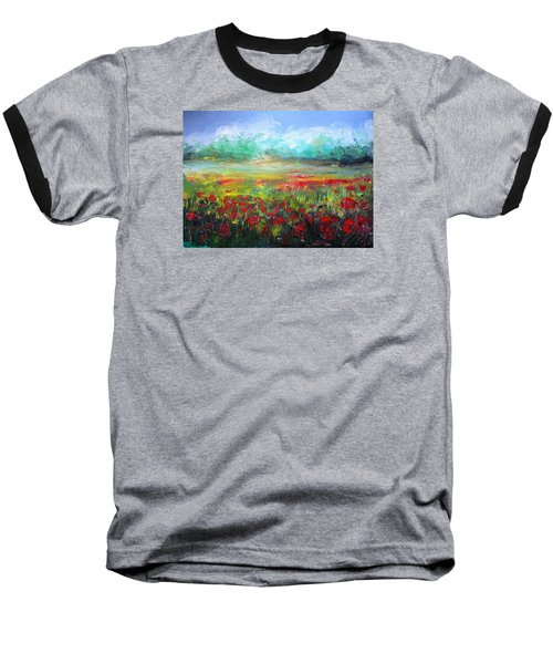 Baseball T-Shirt featuring the painting Poppy Fields by Vesna Martinjak