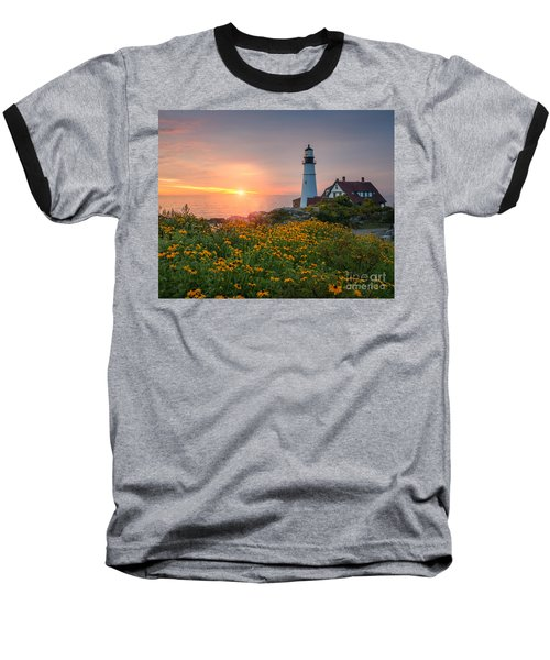 Portland Head Light Sunrise  Baseball T-Shirt