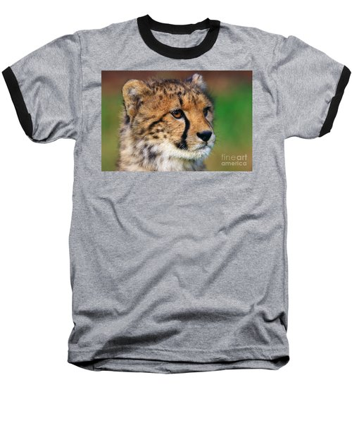 Baseball T-Shirt featuring the photograph Portrait Of A Cheetah Cub by Nick  Biemans