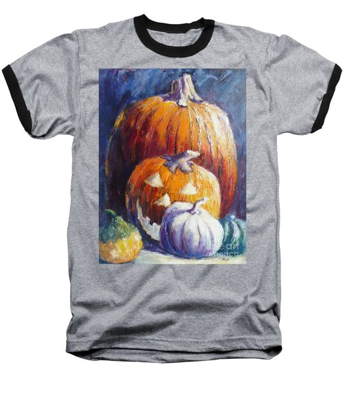 Pumpkin Happy Face Baseball T-Shirt