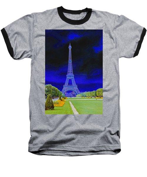 Purple Eiffel Baseball T-Shirt