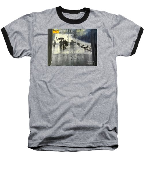 Rainy City Street Baseball T-Shirt