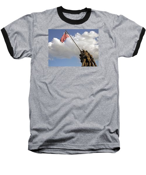 Baseball T-Shirt featuring the photograph Raising The American Flag by Cora Wandel