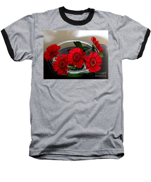 Red Flowers. Special Baseball T-Shirt